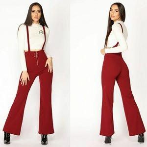 Fashion Nova Burgandy Overalls  NWOT!